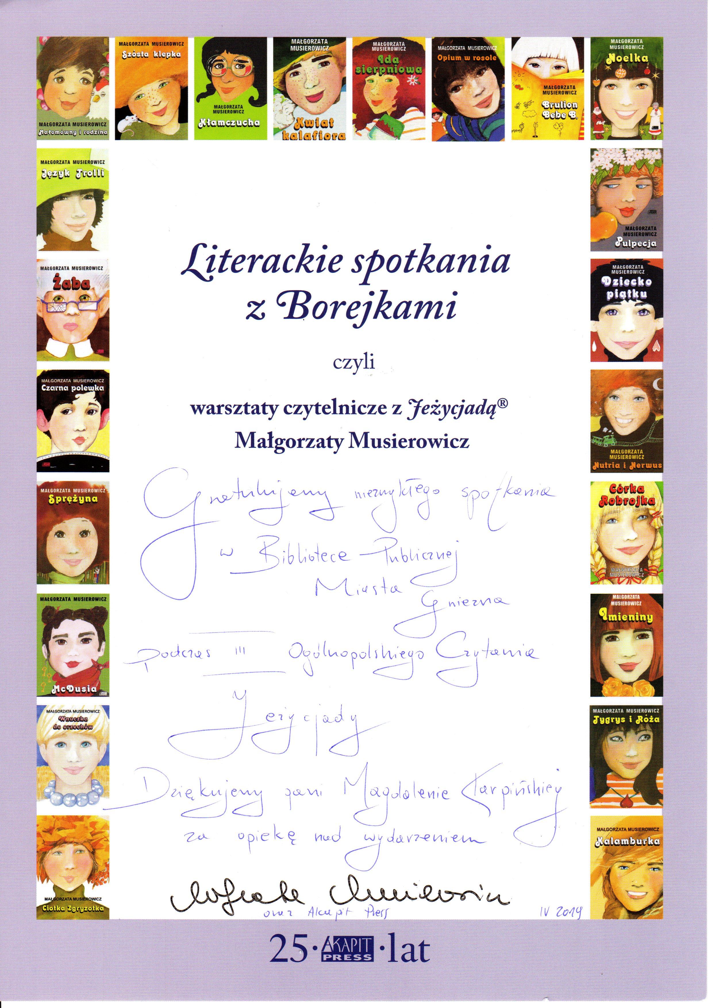 Książka z autografem Małgorzata Musierowicz wyróżnieniem za spotkania poświęcone twórczości autorki