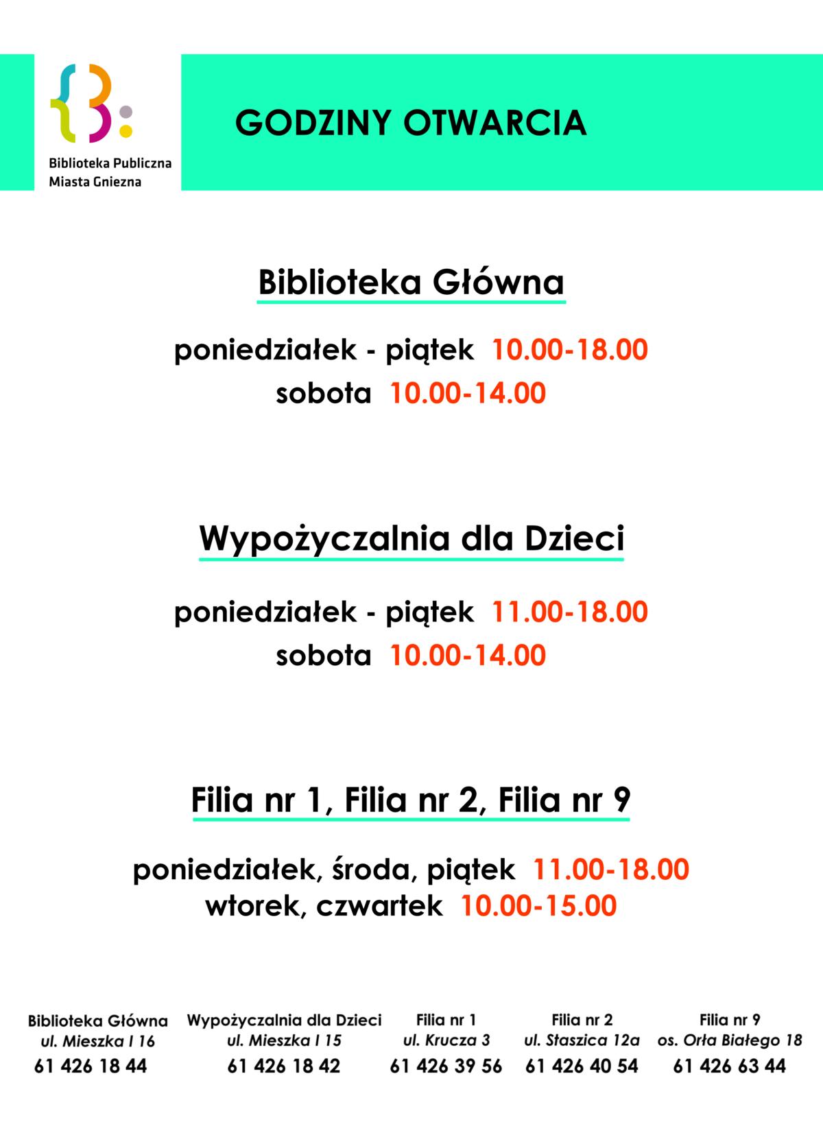 Zmiana godzin pracy Biblioteki