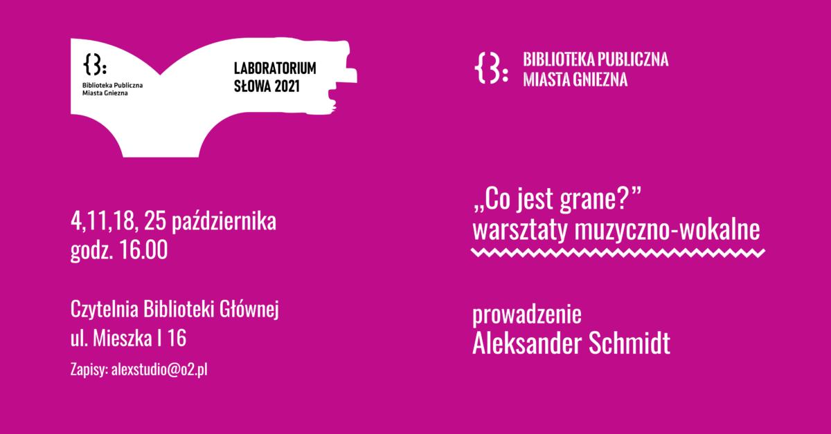Warsztaty wokalno-muzyczne z Aleksandrem Schmidtem, także w październiku