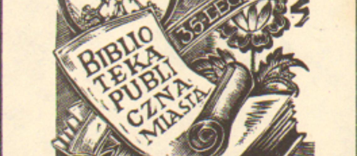 Ekslibris z 1980 roku autorstwa Wandy Tomaszewskiej - wydany z okazji 35-lecia BPMG