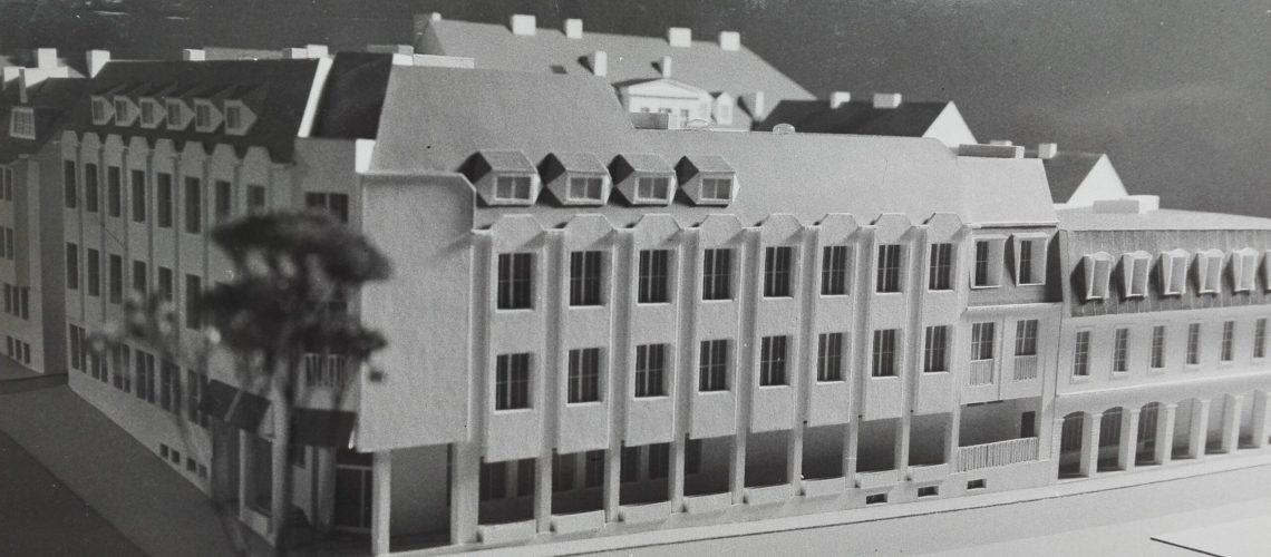 Projekt z lat 70-tych nowego budynku biblioteki