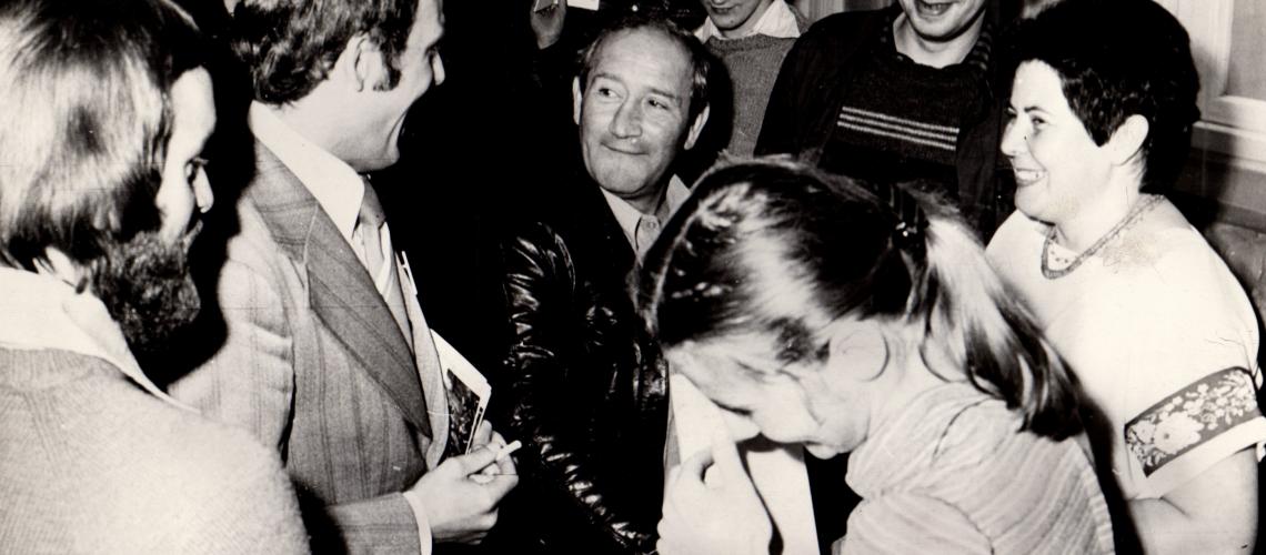 I Piastowskie Lato Poezji, 27.08.1978 - spotkanie z Janem Himilsbachem (budynek dzisiejszego Empiku?)
